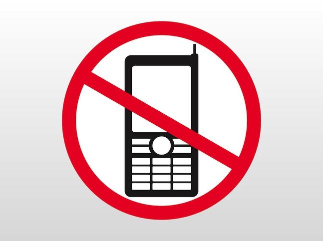 Знак запрета на электронные средства связи