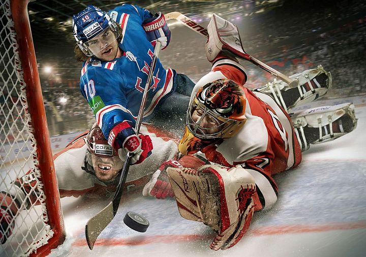 Хоккеисты.