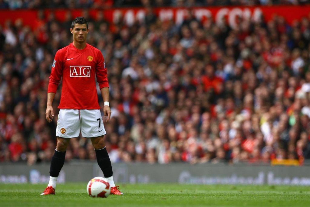 Криштиану Роналду в цветах «Манчестер Юнайтед»