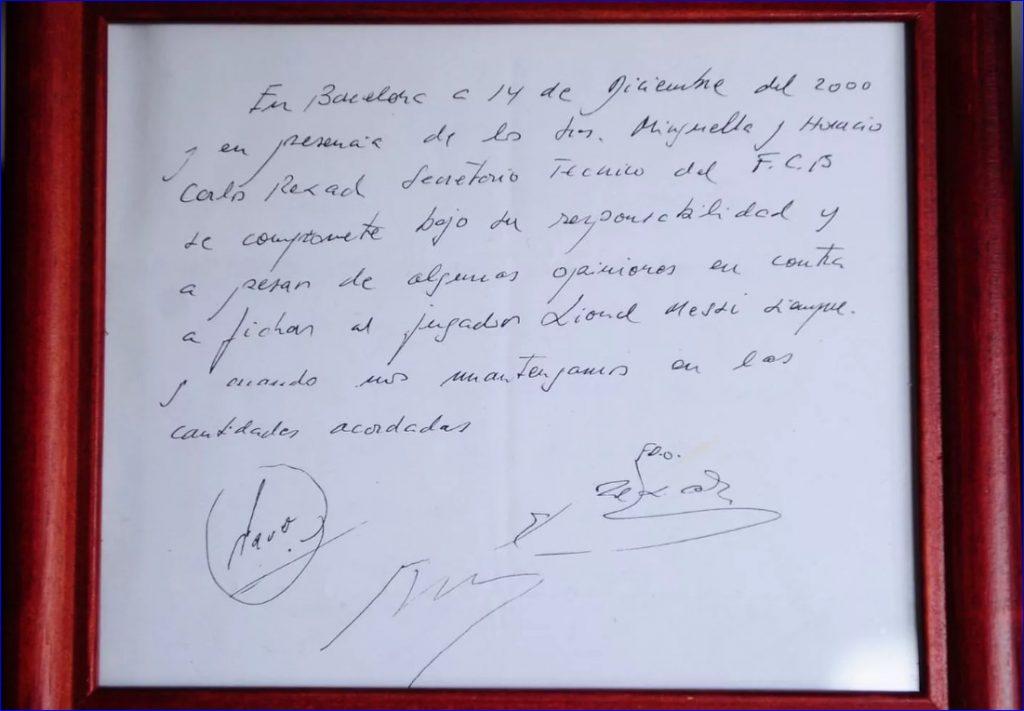 Хорхе Месси торопил руководство клуба с заключением контракта, и в итоге он был оформлен на простой салфетке в ресторане.